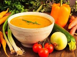 Крем супа от тиквички, картофи и моркови с кисело мляко, копър и чесън - снимка на рецептата